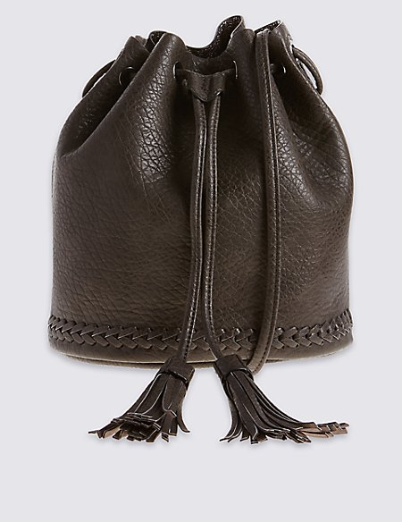 Faux Leather Whipstitch Duffle Bag