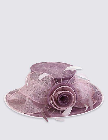 Big Rose & Mesh Wide Brim Hat