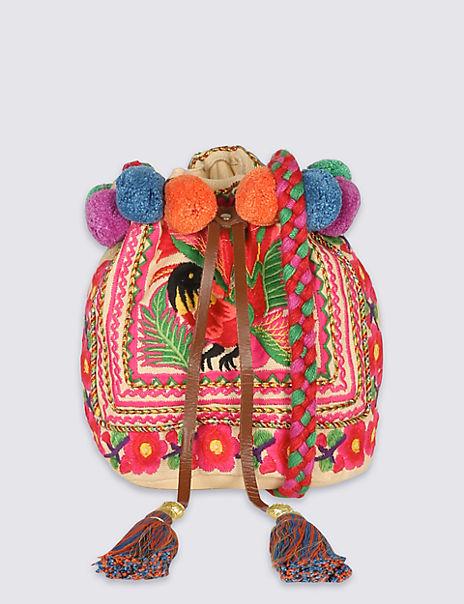 Boho Embroidered Mini Duffle Bag