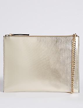 Faux Leather Chain Shoulder Bag, SOFT GOLD, catlanding