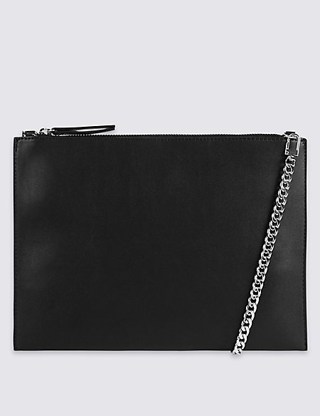 Faux Leather Chain Shoulder Bag