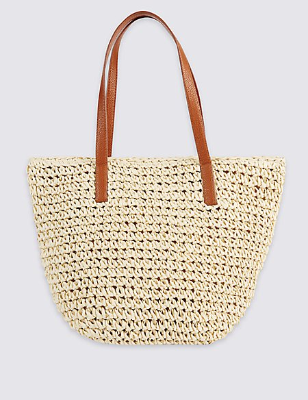 Straw Bucket Shopper Bag