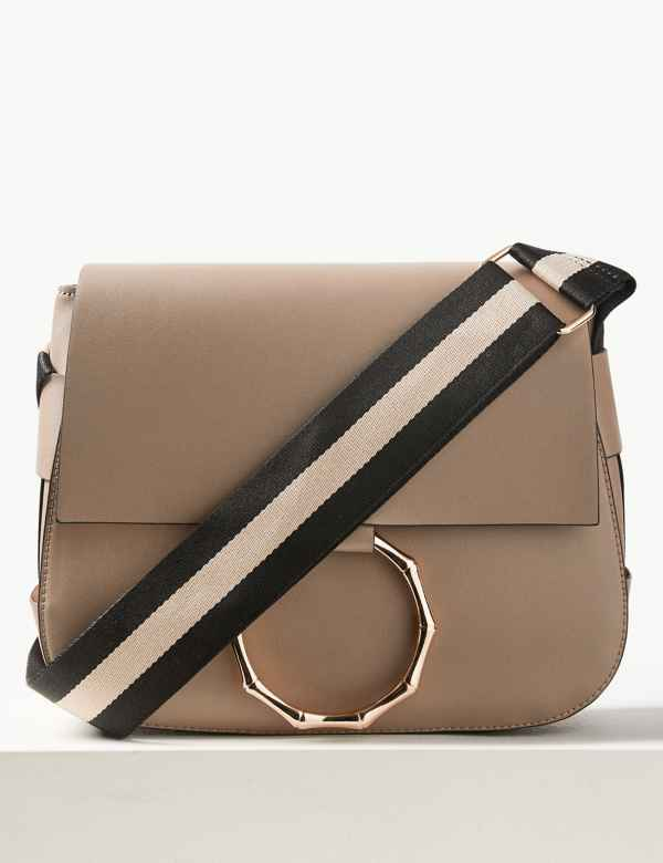 864a7bc11fc3 Faux Leather Bamboo Saddle Cross Body Bag