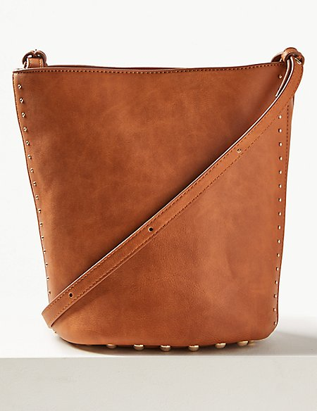 Faux Leather Mini Bucket Cross Body Bag