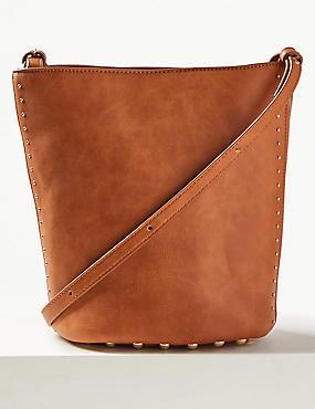 Faux Leather Mini Bucket Cross Body Bag