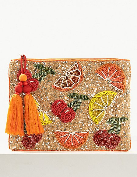 Zipped Detail Clutch Purse
