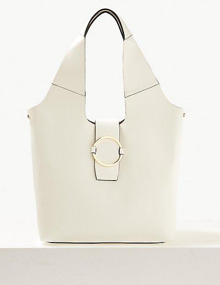 Ring Detail Hobo Bag