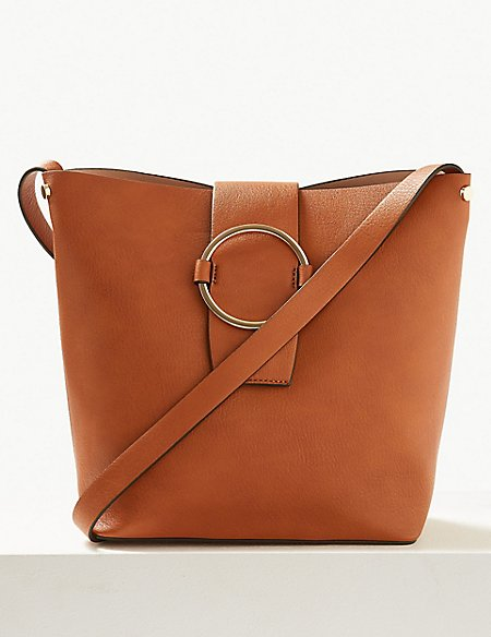 d6c39c904857 Faux Leather Ring Detail Bucket Bag