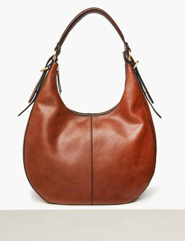 1429290ca7 Leather Zip Detail Hobo Bag