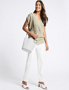 Faux Leather Ring Cross Body Bag