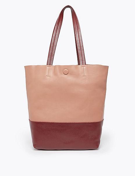Leather Colour Block Shopper Bag