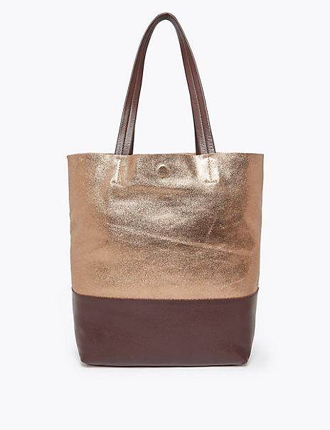 Leather Metallic Shopper