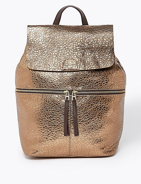 Leather Metallic Backpack Bag
