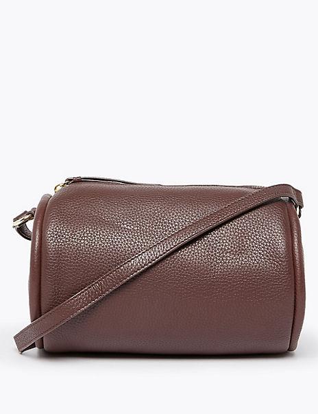 Leather Cross Body Barrel Bag