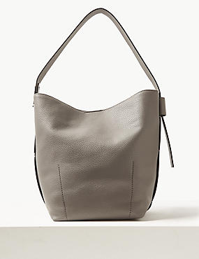 Faux Leather Plate Detail Bucket Bag