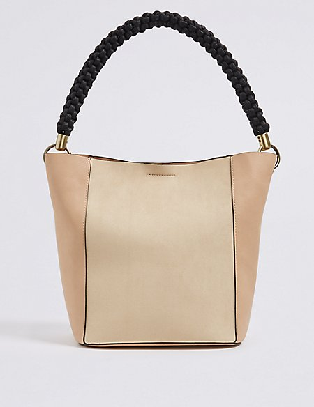 Faux Leather Rope Handle Shoulder Bag