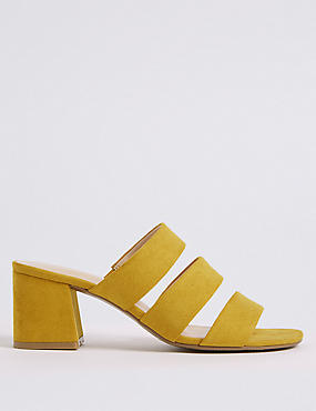 Block Heel Multi Strap Mule Sandals