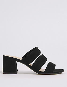 Block Heel Multi Strap Mule Sandals