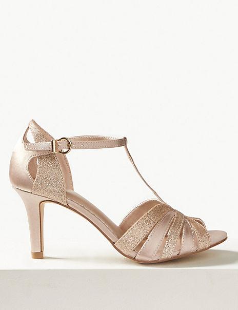 Stiletto Heel Glitter Sandals