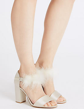Block Heel Fur Ankle Strap Sandals