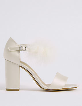 Block Heel Fur Ankle Strap Sandals