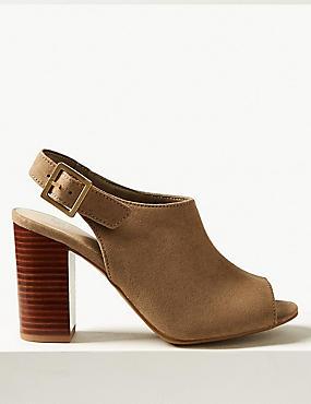High Front Block Heel Slingback Sandals
