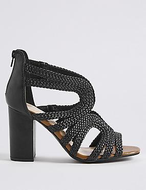 Block Heel Back Zip Sandals