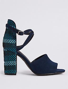 Block Heel High Back Sandals
