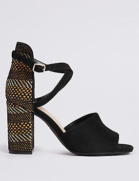 Block Heel High Back Sandals
