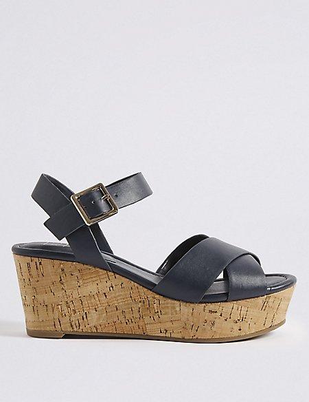 Wedge Heel Crossover Sandals