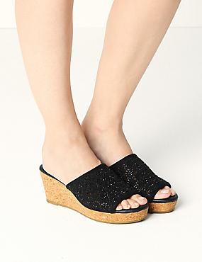 Wedge Heel Slip-on Sparkle Mule Sandals