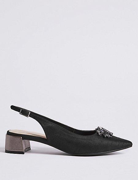 Block Heel Jewel Pointed Toe Court Shoes