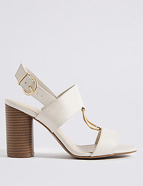 Block Heel Two Band Ring Sandals