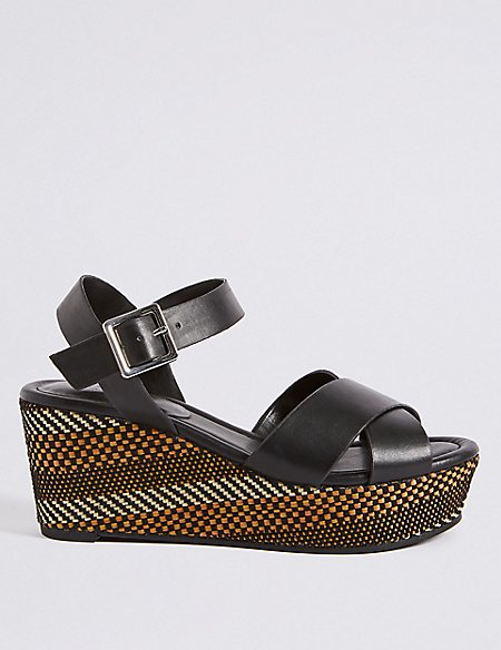 Wedge Heel Textured Crossover Sandals