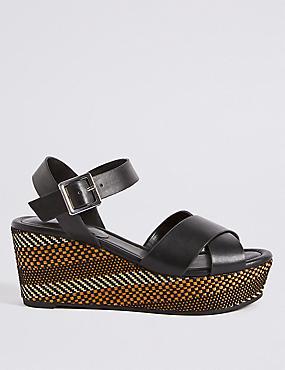Wedge Heel Textured Crossover Sandals