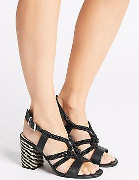 Block Heel Rope Sandals