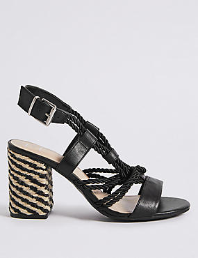 Block Heel Rope Sandals