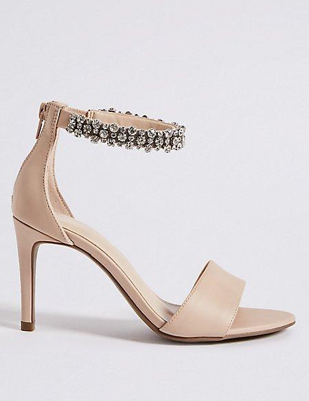 Stiletto Heel Jewel Ankle Strap Sandals