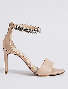 Stiletto Heel Jewel Ankle Strap Sandals