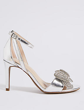 Stiletto Heel Jewelled Bow Sandals