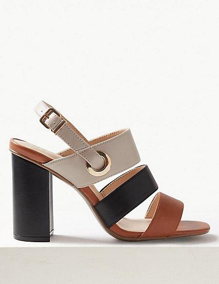 Block Heel Multi Strap Sandals