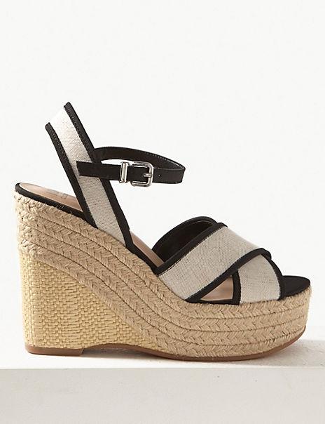 Wedge Heel Crossover Espadrille Sandals