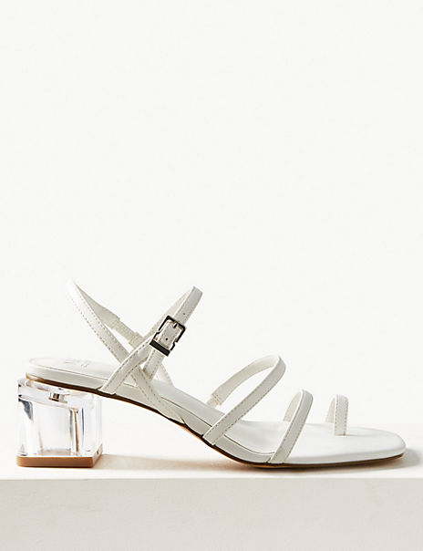 Feature Heel Ankle Strap Sandals