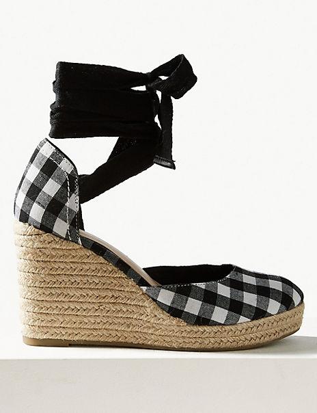 Wedge Heel Checked Espadrille Sandals