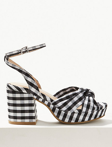 Checked Demi Ankle Strap Sandals