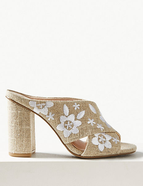 Embroidered Crossover Mule Sandals