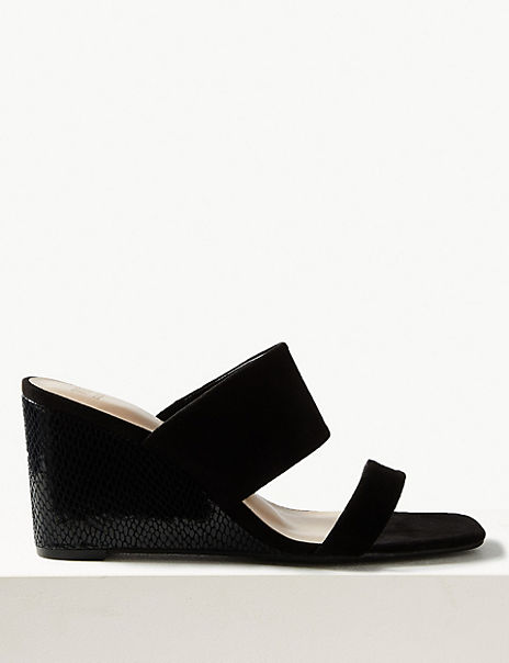 Wedge Heel Two Band Sandals