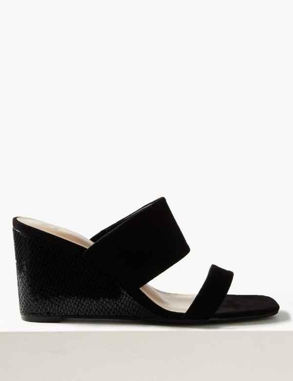 b648b365e69f Wedge Heel Two Band Sandals. New