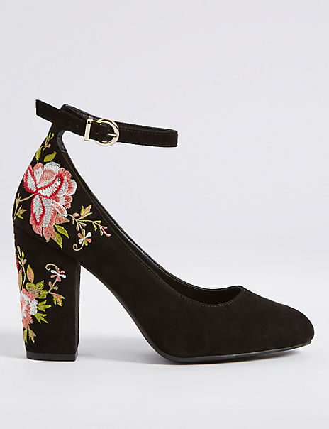 Block Heel Embroidered Court Shoes