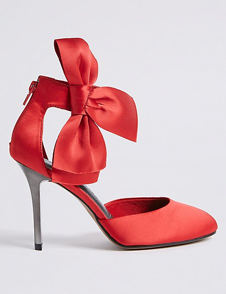 Stiletto Bow Satin Two Part Court Shoes